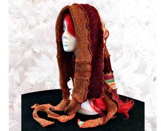 Elf Hood, Burnt Orange Hood, Upcycled Sweater Hood, Woodland Hat, Winter Hoodie, OOAK Scoodie, Festival Wear, Cosplay Hood, Fae Gift for Her