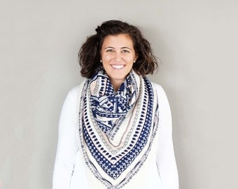 Pink, Blue, and Cream Patterned Blanket Scarf