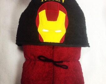 Iron Man Hooded Bath Towel, Hooded Kids Towel, Iron Man, Superhero, Peeker, Birthday Gift, Kids Towel, Personalized Towel, Personalized Gift