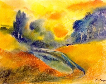 Dawn sky- print from an original pastel by John Menage size A3 or A4