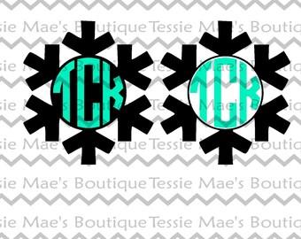 SVG, DXF, EPS, Snowflake Monogram Cutting File, Christmas, Frozen, Elsa, Ana, Winter, TessieMaes, Silhouette, Cricut, Cuttable