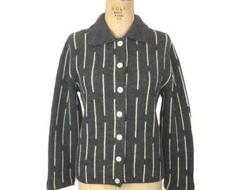 vintage 1950s striped cardigan sweater / Rosanna / wool / gray cream / women's vintage sweater / size medium