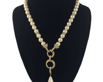 vintage MONET pearl necklace / lariat y necklace / long necklace / statement necklace / bridal wedding / vintage jewelry / costume jewelry