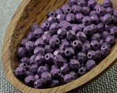 50pc 4mm beads Opaque purple Czech Fire Polished Beads Round Faceted Beads Frosted Matte