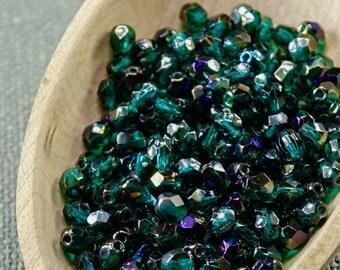 4mm Green beads Czech Fire Polished Glass Bead 4mm (50) Emerald beads Blue Iris coated 4mm beads Teal beads last