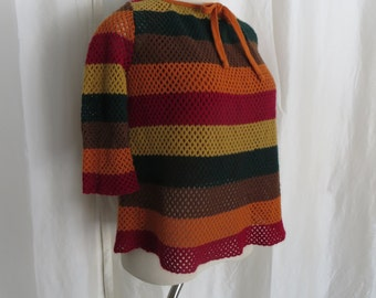 Vintage womens sweater, 60s orange green mustard stripe pullover, winter knit sweater by Jack Winter