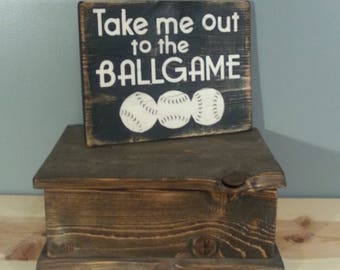 Take me Out to the Ballgame - Baseball Sign -  Rustic Hand Painted Wooden Sign - Black with white letters