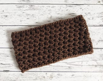 Crochet Brown Cowl, Crocheted Scarf, Crochet Infinity Scarf, Chunky Winter Scarf, ready to ship
