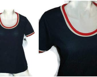 SALE Vintage 70s Shirt Red White Navy Blue Ribbed Polyester Scoop Neck Shirt Patriotic USA 4th of July Mod M L chest to 42 in