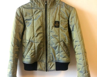 Shiny Green Iridescent Quilted Jacket Vintage RefrigiWear Womens Small Mesh interior Youth Medium