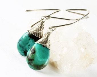 Turquoise Earrings, Sterling Silver wire wrap, fine earrings, blue gemstone, genuine turquoise, gift for her, December birthstone, ER1781