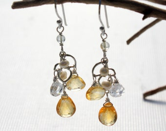 Citrine Earrings, Sterling Silver wire wrap, yellow gemstone, fine chandelier earrings, CZ, pearls, gift for her, November birthstone