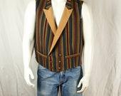 Double breasted steampunk vest Striped waistcoat Welt pockets, lapels, V-neck multi color gentleman's vest Cosplay costume Men clothing L XL
