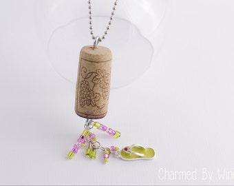 Cork Ornament: Wine Bottle Charm, Flip Flop Charm, Rearview Mirror Car Charm, Window Hanging, Home Decor