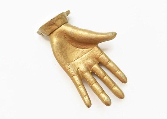 Cast Iron Hand, Ring Holder, Jewelry Display, Gold Hand Wall Hook, Mannequin Hand, Halloween Decor, Show Display, Key Hook, Hand Wall Art