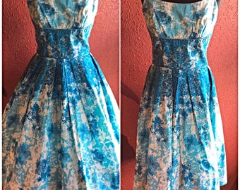 1950s Butterfly Print Sundress Novelty Print Cotton Dress XS