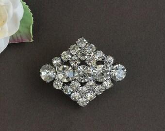 Vintage Rhinestone Silver Color Diamond Shaped Pin Brooch