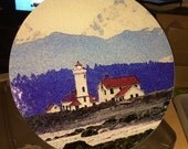 Round Glass Cutting Board Large Lighthouse - Port Townsend 12in diameter