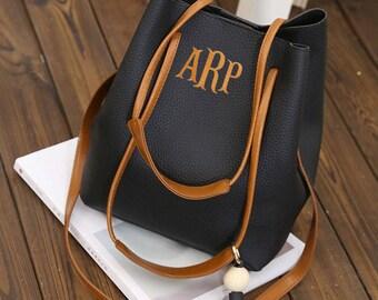 Monogram Bucket Purse, Embroidered Monogram Leather Tote Bag, Monogram Faux Leather Tote Bag, Monogrammed Handbag, Monogrammed Purse