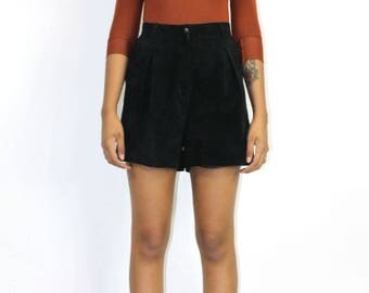 Black Suede Shorts - Suede Shorts High Waist Pockets BOX PLEATING LEATHER Vintage Short Shorts Size 11 31 Waist Medium Rocker Goth Lolita