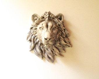 CUSTOM Faux Aged/Antique-Finish SMALL Faux Taxidermy LION Head wall mount wall hanging / safari animal / animal head  kids room decor office