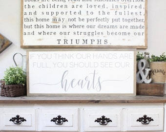 If You Think Our Hands Are Full You Should See Our Hearts, Wood Sign, Framed Wall Art, Hand Painted Wood Sign, Rustic Wood Sign