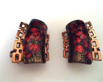 Vintage Matisse Renoir Copper and Red Enamel Earrings Mod Geometric Design Vintage Enamel Jewelry Copper Jewelry Vintage Clip On Earrings