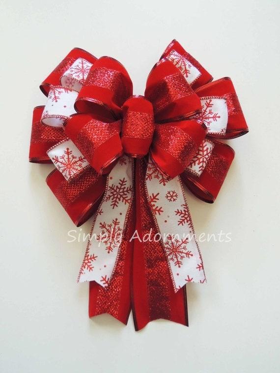 White Red Snowflakes Christmas Bow Red White Snowflakes Wreath Bow Red White Winter Wedding Pew Bow Snowflakes Christmas Teardrop Swag Bow