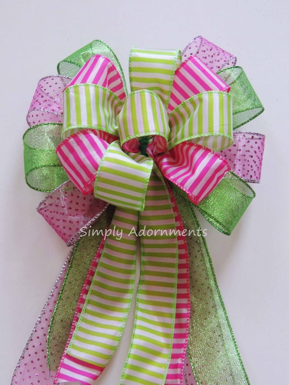 Pink Lime Spring Wreath Bow Lime Pink Stripes Bow Pink Green Easter Bow Easter Gift Basket Bow Spring Stripes Door Hanger Decoration