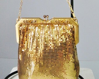 Gold Mesh Evening Bag / Vtg 40s 50s / Whiting & Davis Gold Mesh bag with jeweled frame and chain strap