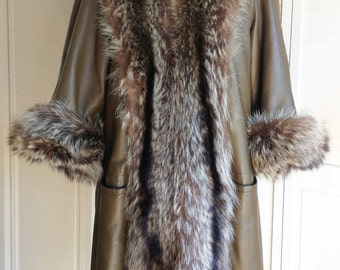 1970s Fox Trimmed Shearling Lined Leather Coat