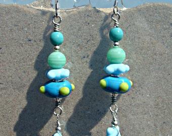 Aqua Sky Blue - Turquoise - Lime - Mint Green Artisan Lampwork Earrings