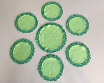 Vintage 40s Green Handmade Doily Set