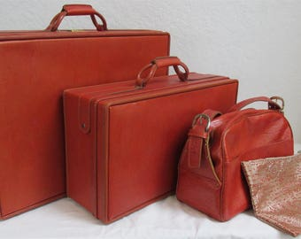 """On Sale! Vintage 1960's """"Hartmann"""" 3 Piece Leather Luggage Set In Burnt Orange With Brass Hardware / 2 Keys Included"""