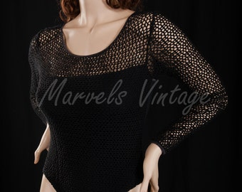 Vintage Victoria's Secret Bodysuit Black Fishnet Sleeves and Neckline Size Large