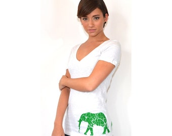Women's Elephant Shirt | Elephant print shirt | graphic tees | elephant clothing | gift for her | Deep V-neck | womens t shirts
