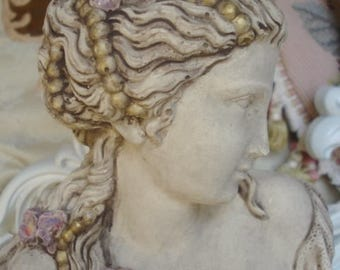 Vintage Lady Bust Statue French Nouveau Girl with Poppies Lace and Pearls