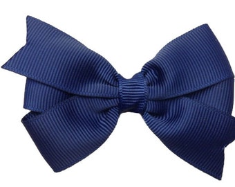 Adorable 3 inch navy blue hair bow - navy blue bow, navy hair bows, 3 inch bows, toddler bows, girls hair bows, girls bows, hair clips