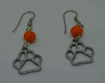 """Orange Crystal Bead with Silver Tiger Paw Print Silver Plated Earrings 2"""" Long"""