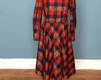 Vintage 80's Block Check Print Midi Dress UK Size 12