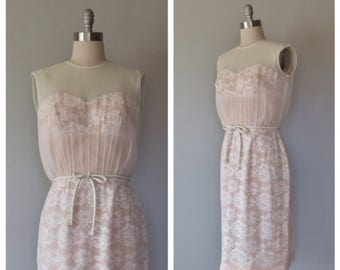 vintage 1960s silk chiffon and lace party/cocktail dress size medium