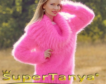SUPERTANYA neon  pink hand knitted mohair cowlneck sweater, designed by SuperTanya