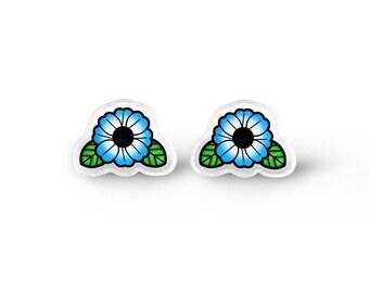 Blue Flower Earrings - Kawaii Earrings, Grunge Stud Earrings, Bohemian Jewelry, Hippie Flowers, Hippie Earrings