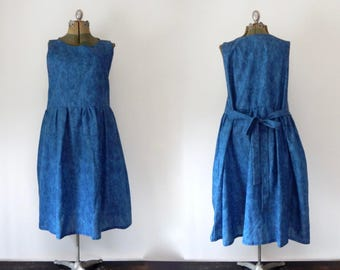 vintage blue sun dress plus size blue dress retro dress summer dress atomic print mommy dress cottage chic dress ties in back garden XL