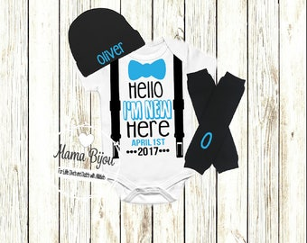 Newborn Boy Coming Home Outfit, Personalized Newborn Outfit, Newborn Take Home Outfit, Baby Boy Hospital Outfit, I'm New Here, Trendy Boy