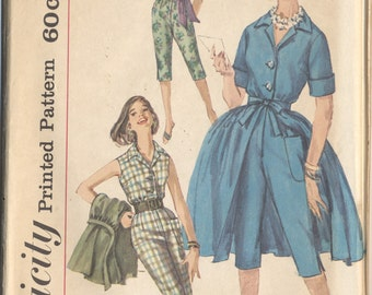 Factory Folded Vintage Simplicity 3737 Misses Jumpsuit and Overskirt 1950s