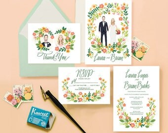 Spring Greenery Custom Illustrated Couple Portrait Wedding Invitation Suite (DIY- digital files only)