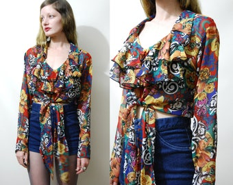 90s Vintage TIE-UP Blouse Bright Floral Baroque Print Top Salsa Ruffle Frilly Tiered Ruffle Crop Top Shirt Sheer Grunge Bohemian 1990s vtg S
