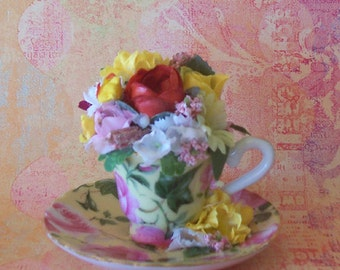 Tiny Pink Rose on Yellow Teacup Floral Arrangement