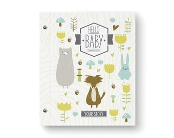 Baby Book, Baby Memory  Book, ANIMAL, Personalized Baby Book,  Baby Books, The Sweet Rhino